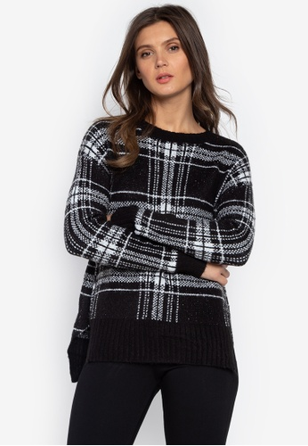 MARKS & SPENCER black Checked Relaxed Round Neck Jumper B7116AAD5AC976GS_1