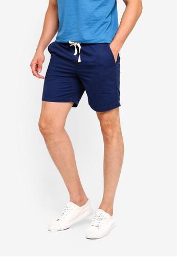 Penshoppe blue Tapered Drawstring Shorts 7FC10AA76037C2GS_1