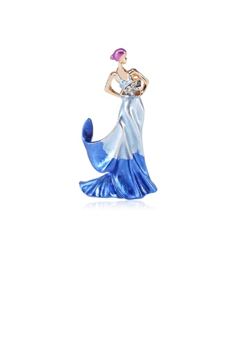 Glamorousky white Fashion and Elegant Plated Gold Blue Beauty Folding Fan Brooch with Cubic Zirconia 4A64CAC80AF705GS_1