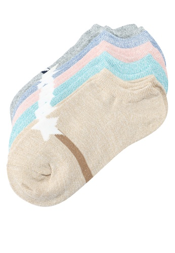 UniqTee multi Pack Of 5 Ladies Low Ankle Socks with Stripe A7FA3AA51E1B5EGS_1