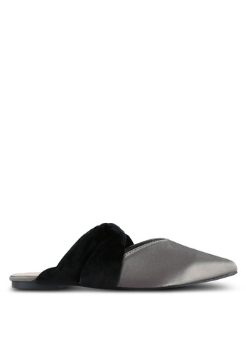 Something Borrowed silver Knotted Velvet Pointed Flats 70360SH3B7FE66GS_1