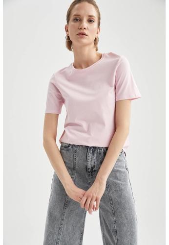 DeFacto pink Short Sleeve Round Neck Cotton T-Shirt DB3AFAA1D08480GS_1