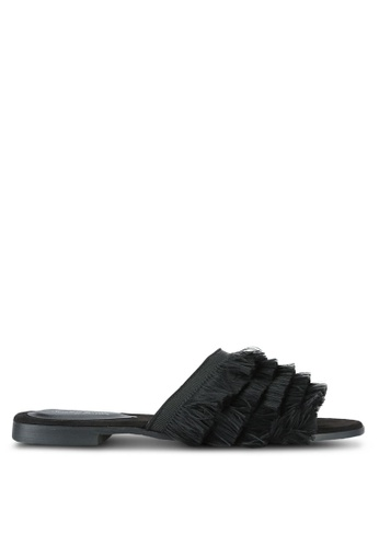 Something Borrowed black Fringed Sliders A1D8ASH9C04424GS_1