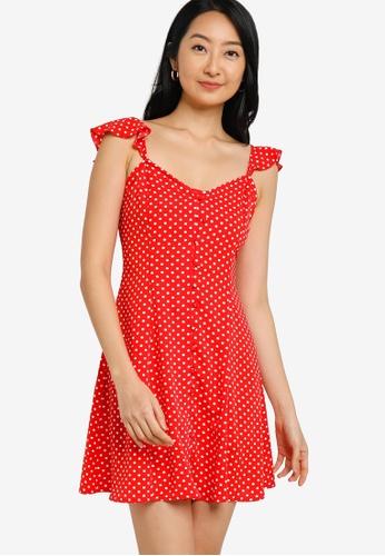 ZALORA BASICS red Ruffle Cap Sleeves Fit and Flare Dress CFFA1AAC9A5E1BGS_1
