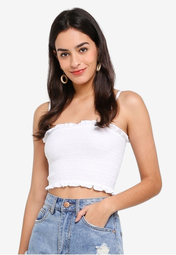 Miss Selfridge white White Shirred Strap Bandeau Top 5BAC5AA5BE60F8GS_1