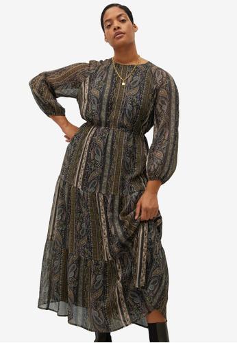 Violeta by MANGO brown Plus Size Flowy Printed Dress F9879AA8D5BE1FGS_1