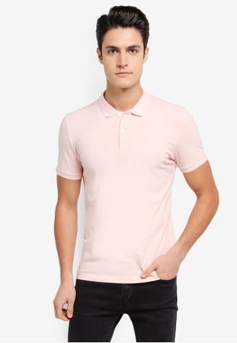 ZALORA pink Pique Button Down Polo Shirt 5ED4AAADEABBC9GS_1
