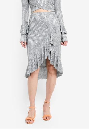 Something Borrowed silver Ruffle Hem Rib Skirt 3A706AAD6EAC14GS_1