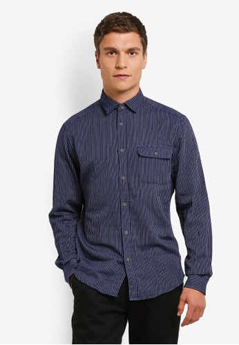 ESPRIT navy Woven Long Sleeve Shirt ES374AA0ROA6MY_1