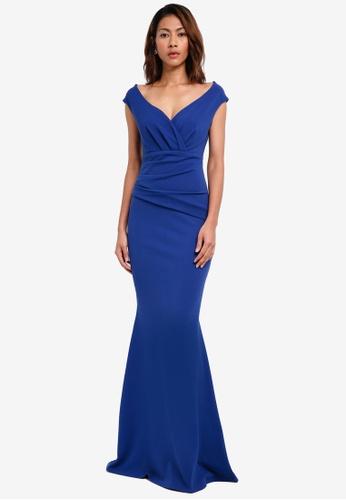 Goddiva blue Bardot Pleated Maxi Dress 1EC5CAADB13A42GS_1