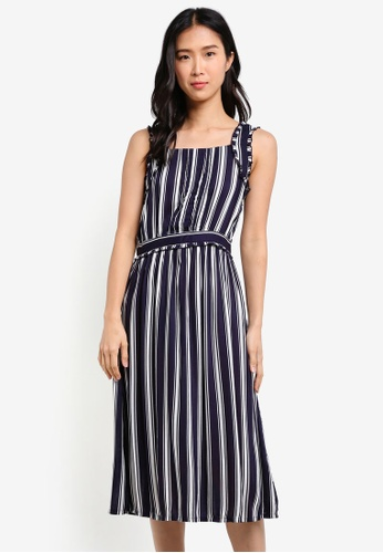 ZALORA navy Strap Detail Fit & Flare Dress A2FC4AA475DC52GS_1