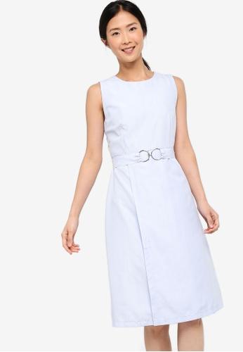 ZALORA BASICS blue Basic Belted Midi Dress F4816AAA921D0FGS_1