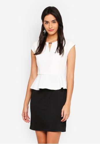 ZALORA BASICS black and white Peplum Pencil Dress 7C877AA087E1B2GS_1