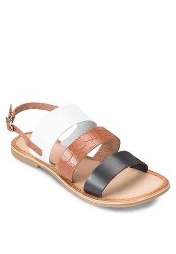 Blaisy 暗紋三寬zalora 衣服評價帶涼鞋, 女鞋, 鞋