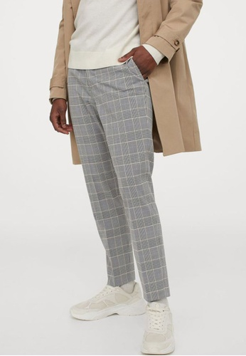 H&M grey and multi Slim Fit Cigarette Trousers 184D6AA7BED9D3GS_1