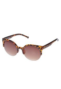 Circle Cat Eye Semi-Rimless Sunglasses
