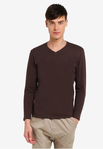 Electro Denim Lab brown Cotton V-Neck Tee EL966AA0RWIZMY_1