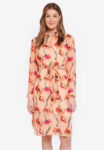 Pieces orange Alberte Long Sleeve Midi Shirt Dress 3AC3EAA3B32946GS_1