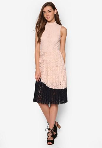 esprit hong kong拼色蕾絲褶藝洋裝, 服飾, 洋裝