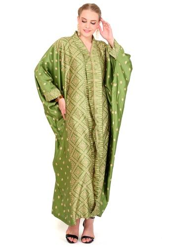 Kanzi by liza yahya green Kanzi Exclusive Long Sleeve Songket Kaftan 5469AAABFE8704GS_1