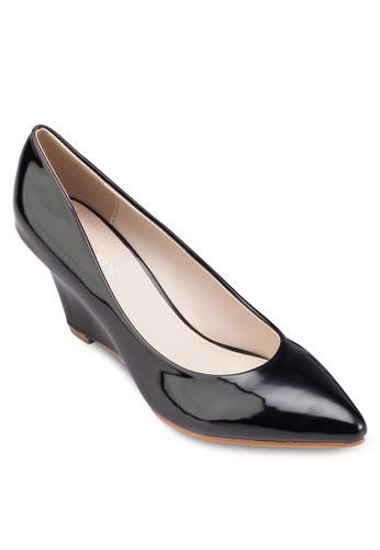 esprit 兼職漆面尖頭楔形鞋, 女鞋, 鞋