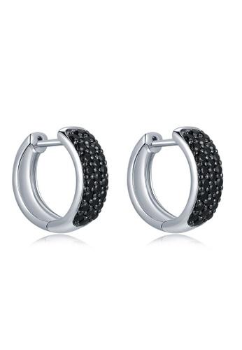 MBLife silver 925 Sterling Silver Black CZ Hinged Hoop Earrings 8EA96ACEA0C6D0GS_1