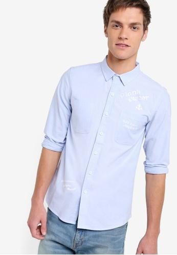 UniqTee blue Slim Fit Shirt With Wording UN097AA76IRFMY_1