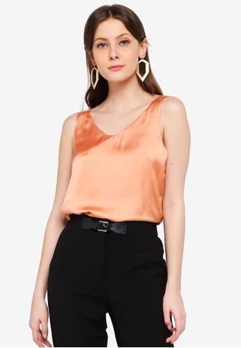 FORCAST orange Cataleya V-Neck Top 5099CAA1795D48GS_1