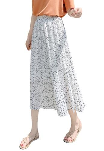 Halo white Printed Chiffon Pleated Skirt 7F2D7AAFA34860GS_1