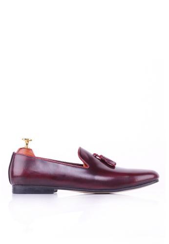 Zeve Shoes red Zeve Shoes Loafer Slipper - Red Polished Leather AD40FSHEDB3AF7GS_1