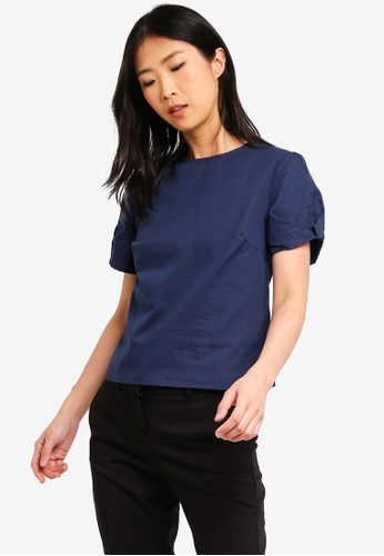 ZALORA BASICS navy Basic Puff Sleeves Boxy Top 92B04AA821EBD3GS_1