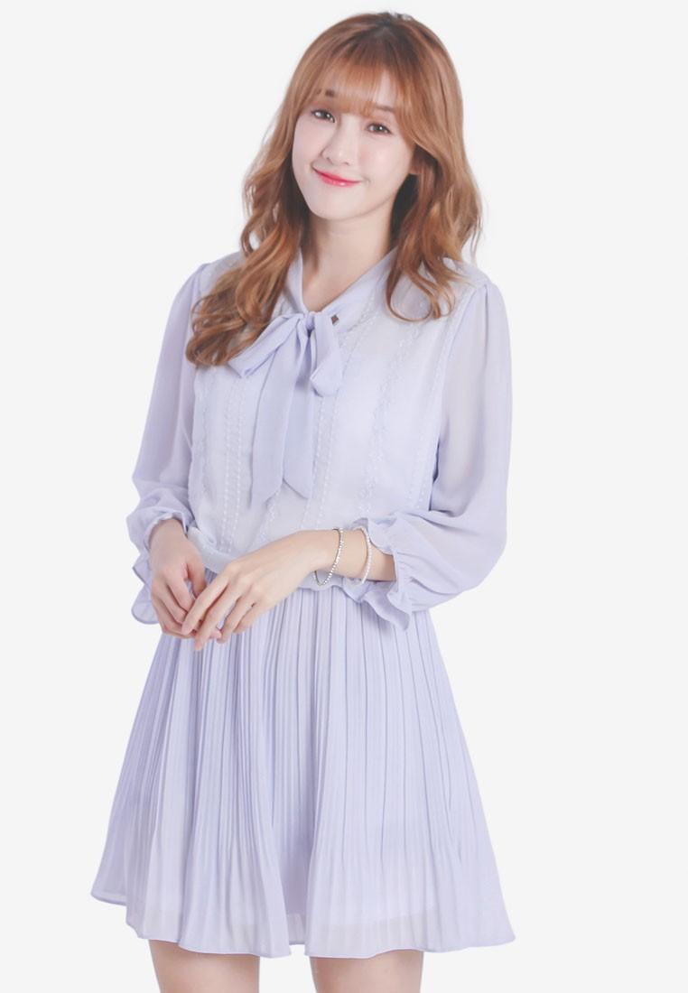Chiffon Dress With Pleated Skirt
