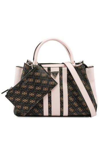Guess brown and pink Ambrose Turnlock Satchel Bag B784CAC680B7C5GS_1