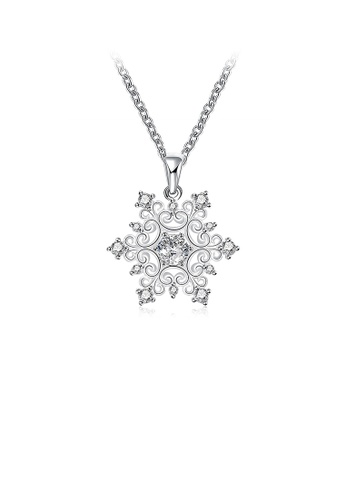 Glamorousky white Simple Snowflake Pendant with Austrian Element Crystal and Necklace 736F6AC4798657GS_1