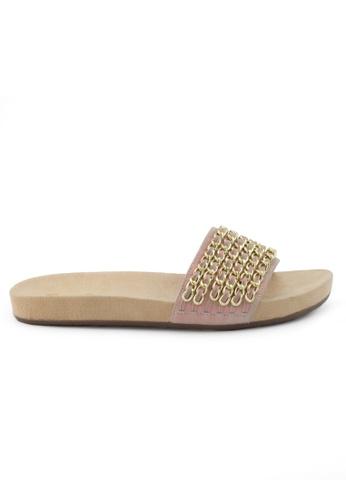 Shu Talk 粉紅色 型格銀鏈配飾真皮涼鞋 SH544SH09S73TW_1