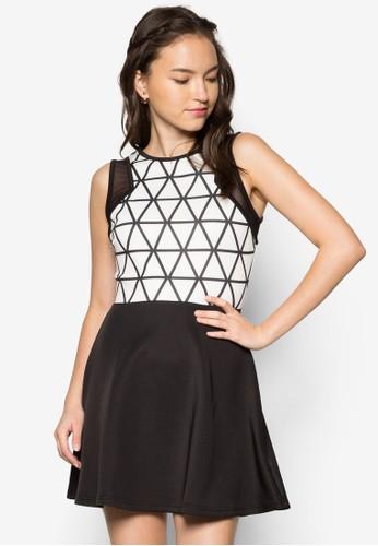 薄紗拼袖合身洋裝, 服飾, 服zalora 折扣碼飾