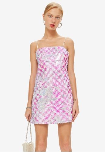 TOPSHOP pink Sequin Mini Slip Dress C2D5EAA84BF47AGS_1