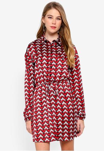 MISSGUIDED red Tie Waist Long Sleeve Shirt Dress 16D15AAF96EBEDGS_1