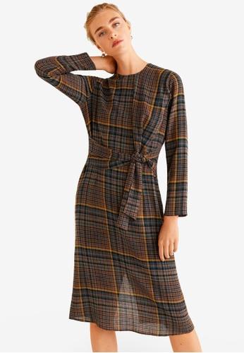 Mango brown Check Bow Dress 03E26AAEE68FF1GS_1