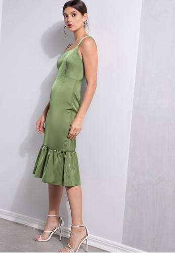 ZALORA OCCASION green Peplum Hem Corset Dress 885BEAA013CEFEGS_1