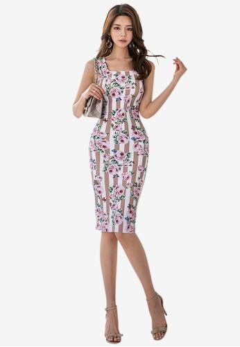 Sunnydaysweety multi Striped Pattern Sleeveless One Piece Dress 33AE8AABA60ECFGS_1