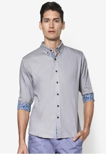 Paisley 印花esprit台北門市滾邊七分袖襯衫, 服飾, 素色襯衫
