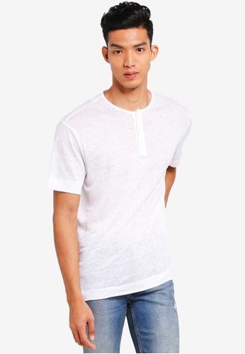 48c786bc9b2 Buy MANGO Man Slub-Linen Henley T-Shirt Online on ZALORA Singapore