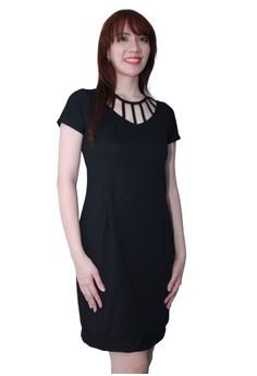 Cutout Neckline Sheath Dress