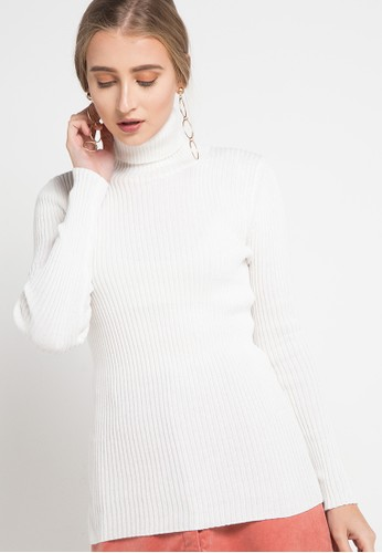 COME white Ribbed Turleneck Top CF24EAA80781B3GS_1
