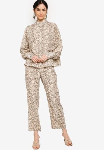 Zalia white Puff Sleeves Blouse with Pants Set 0F6B1AADAFA3B0GS_1