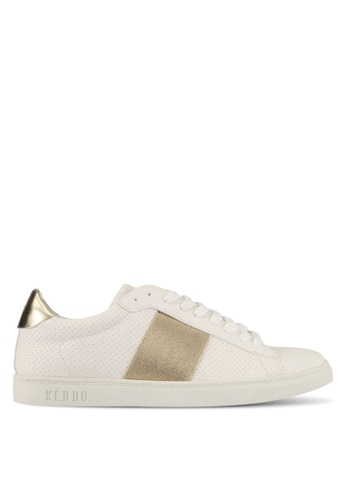 Keddo white Elastic Detail Laced-Up Sneakers 55C1CSH399775DGS_1