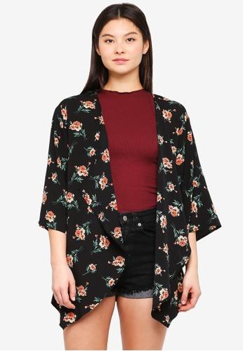 Something Borrowed black Waterfall Kimono Cardigan DD983AAF906969GS_1