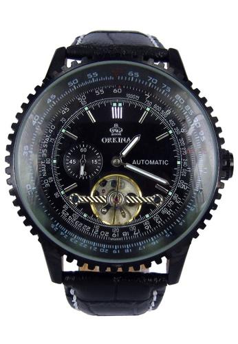 Chronomart black Exquisite Large Dial Tourbillon Automatic Leather Band Men's Wrist Watch CH783AC92TPZPH_1