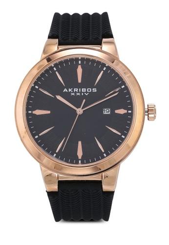 Akribos XXIV black Soft Silicone Watch E00A3ACE33F601GS_1